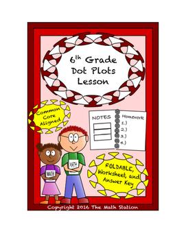 6th Grade Dot Plots Lesson: FOLDABLE & Homework