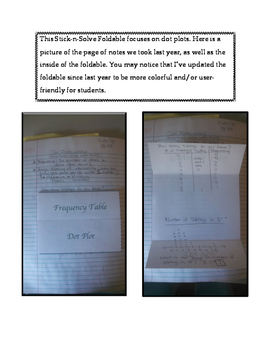 6th Grade Dot Plots Lesson: FOLDABLE & Homework
