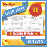 6th Grade EE Quizzes: Expressions & Equations, 6th Grade Math Assessments