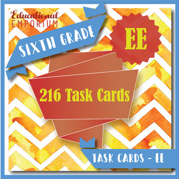 6th Grade EE Task Cards: Expressions & Equations, 6th Grade Math Task Cards