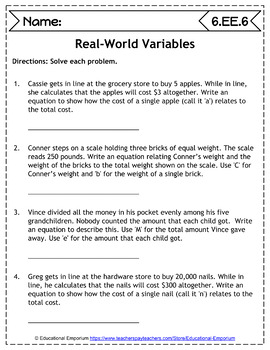 6th Grade EE Worksheets: Expressions & Equations, 6th Grade Math Worksheets