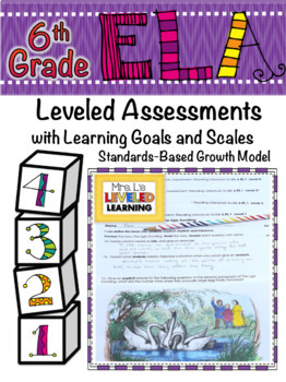 6th Grade ELA Assessment for Reading Literature RL with Proficiency Scales