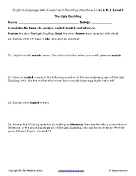6th Grade ELA Assessment with Learning Goal 6.RL.1 and Scale - FREE