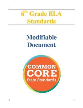6th Grade ELA CCSS - Word Format - Modifiable