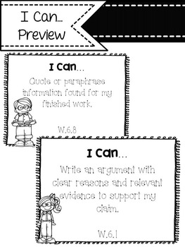 "6th Grade ELA Common Core ""I Can"" Statements"