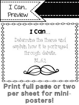 """6th Grade ELA Common Core """"I Can"""" Statements (Mustache)"""