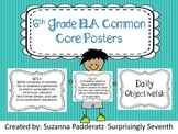 6th Grade ELA Common Core Posters - Black and White