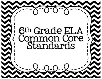 6th Grade ELA Common Core Posters- Black and White