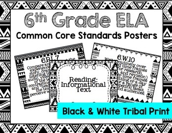 6th Grade ELA Common Core Posters- Black and White Tribal Print