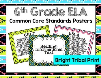 6th Grade ELA Common Core Posters- Bright Tribal Print