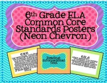 6th Grade ELA Common Core Posters- Neon Chevron Print!
