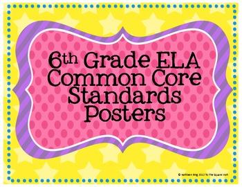 6th Grade ELA Common Core Posters- Rainbow Star Print