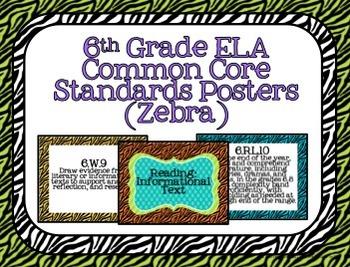 6th Grade ELA Common Core Posters- Zebra Print!