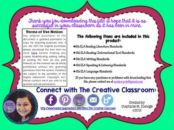 6th Grade ELA Common Core Standards-Neon Posters