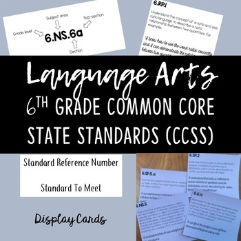 6th Grade ELA Common Core State Standards DISPLAY CARDS