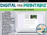 6th Grade ELA Digital & Printable Exit Tickets- Distance L