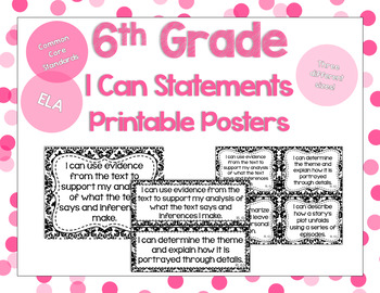 6th Grade ELA I Can Statements for CCSS Standards (Damask)