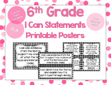 6th Grade ELA I Can Statements for CCSS Standards (Houndstooth)