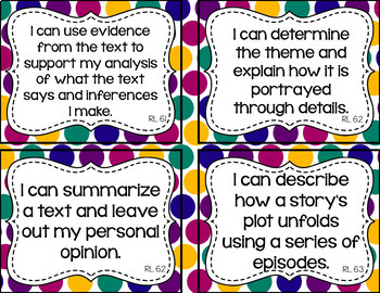 6th Grade ELA I Can Statements for CCSS Standards (Jewel Dots)
