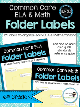 6th Grade ELA & MATH Common Core Standards Folder Labels *