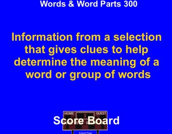 6th Grade ELA PSSA Jeopardy Review Game