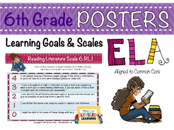 6th Grade ELA Posters (6RL1-3) with Marzano Scales - FREE!