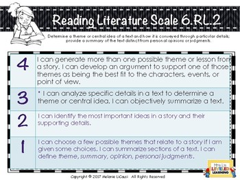 6th Grade ELA Posters with Learning Goal & Scales (RL1-3) Editable Levels FREE