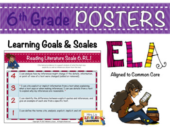 6th Grade ELA Posters with Learning Goals and Scales - EDITABLE
