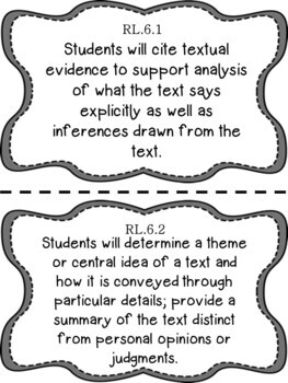 6th Grade ELA Reading Writing COMMON CORE Learning Objective Cards