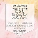 6th Grade ELA Standard Anchor Charts Pink and Gold Marble