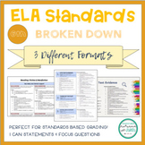 """6th Grade ELA Standards Breakdown with """"I Can"""" Statements and Focus Questions"""