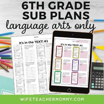 6th Grade ELA Sub Plans Bundle (Language Arts)