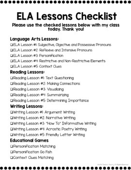 6th Grade ELA Sub Plans (Language Arts Substitute Plans or Distance Learning)