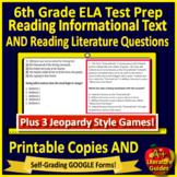 6th Grade ELA SELF-GRADING GOOGLE FORMS Reading Test Prep & Games Bundle