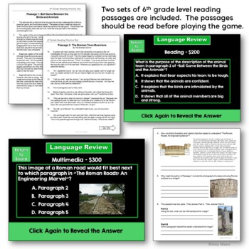 6th Grade ELA Test Prep Set: Paired Reading Passages, Game Show, & Review Sheets