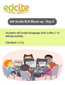 6th Grade ELA Warm-up - Day 2