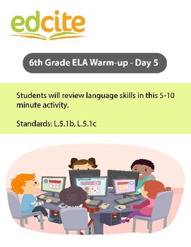 6th Grade ELA Warm-up  - Day 5