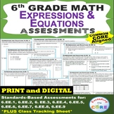 6th Grade EXPRESSIONS AND EQUATIONS Assessments (6.EE) Com