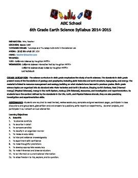 6th Grade Earth Science Syllabus