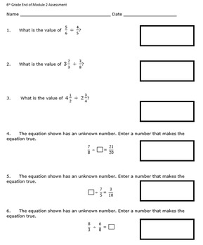 6th Grade End of Module 2 Assessment - Editable