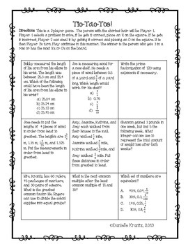 End of Year Math Activities - 6th Grade