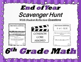 6th Grade End of Year Math Scavenger Hunt - With Student Reflection Questions