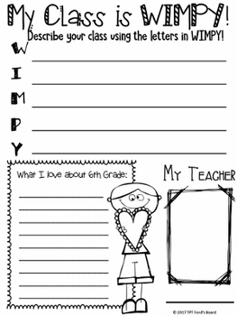 6th Grade End of Year Memory Book -  Diary of a WIMPY Class
