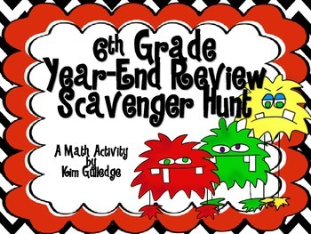 6th Grade End Of The Year Math Scavenger Hunt Common Core Aligned