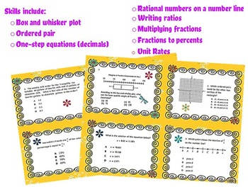 6th Grade End of the Year Review Task Cards 2