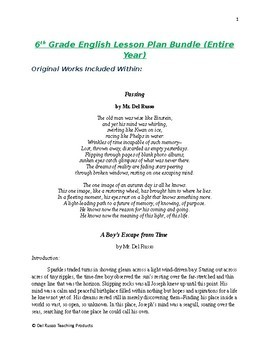6th Grade English Annual Lesson Plan Bundle (Entire Year - 42 Weeks)