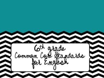 6th Grade English Common Core Standards
