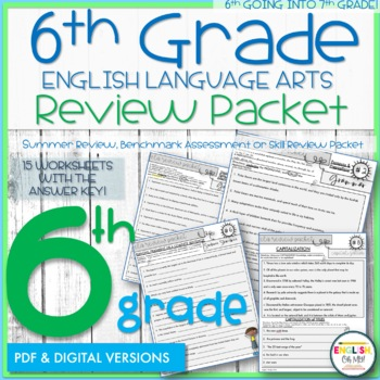 6th Grade English Review Packet, Summer Packet, End of the Year, Back to School