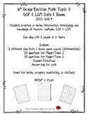 6th Grade Envision Math Topic 3-2 GCF & LCM Dots & Boxes C