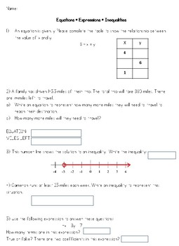 6th Grade Equations, Expressions, and Inequalities Test, Test Prep, or Review